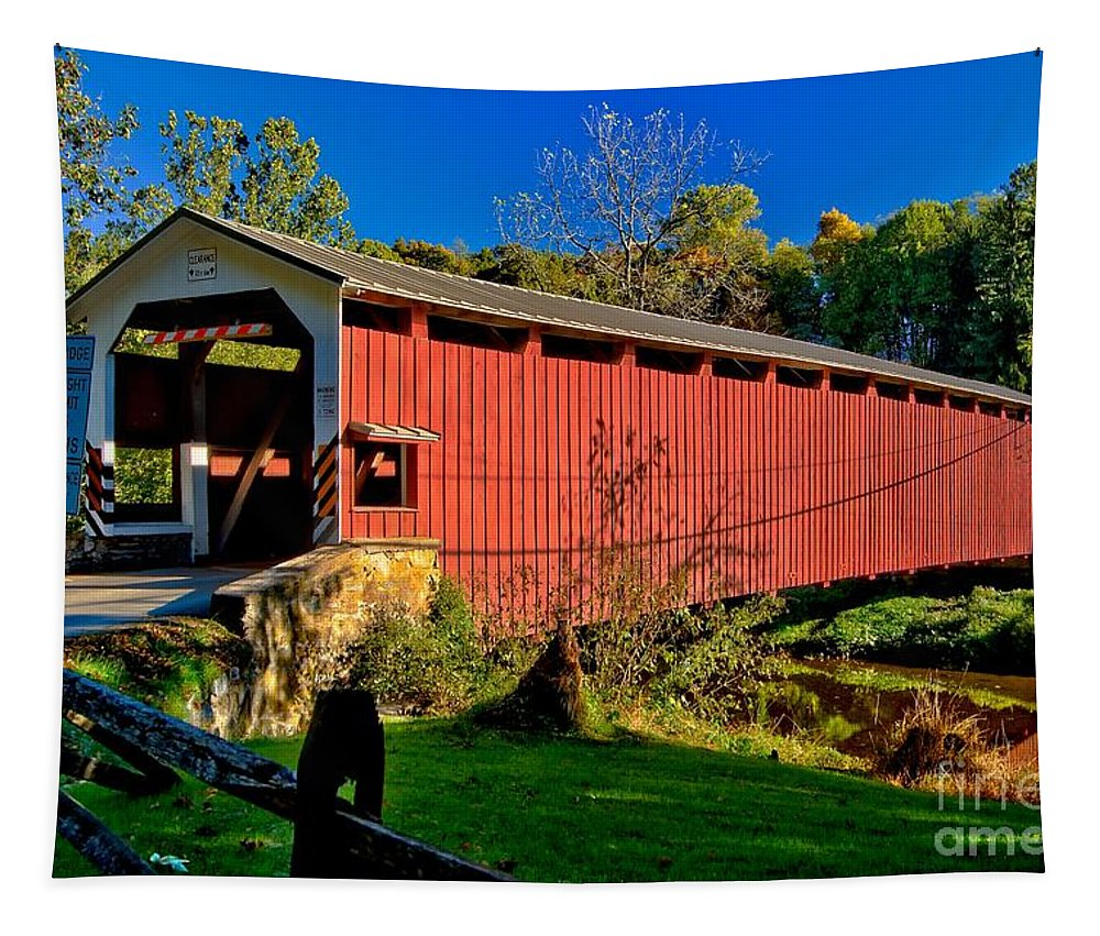 American Tapestry featuring the photograph White Rock Forge Covered Bridge by Nick Zelinsky