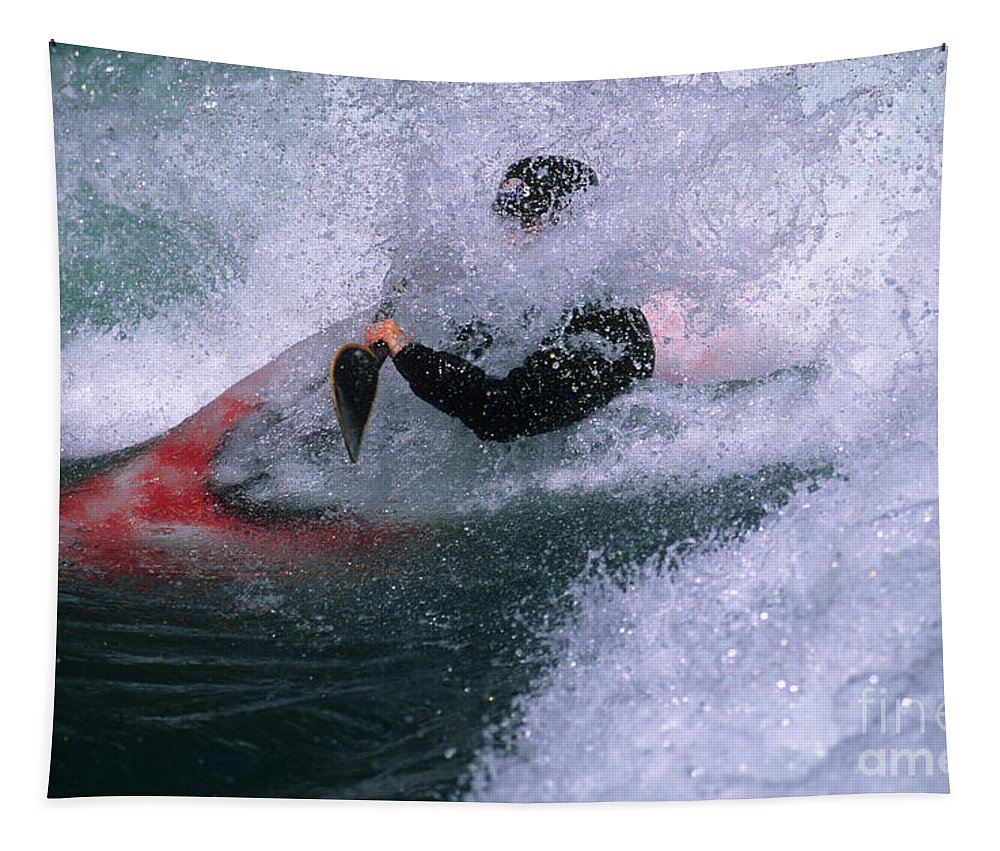 Kananaskis River Tapestry featuring the photograph White Water Kayaker by Bob Christopher