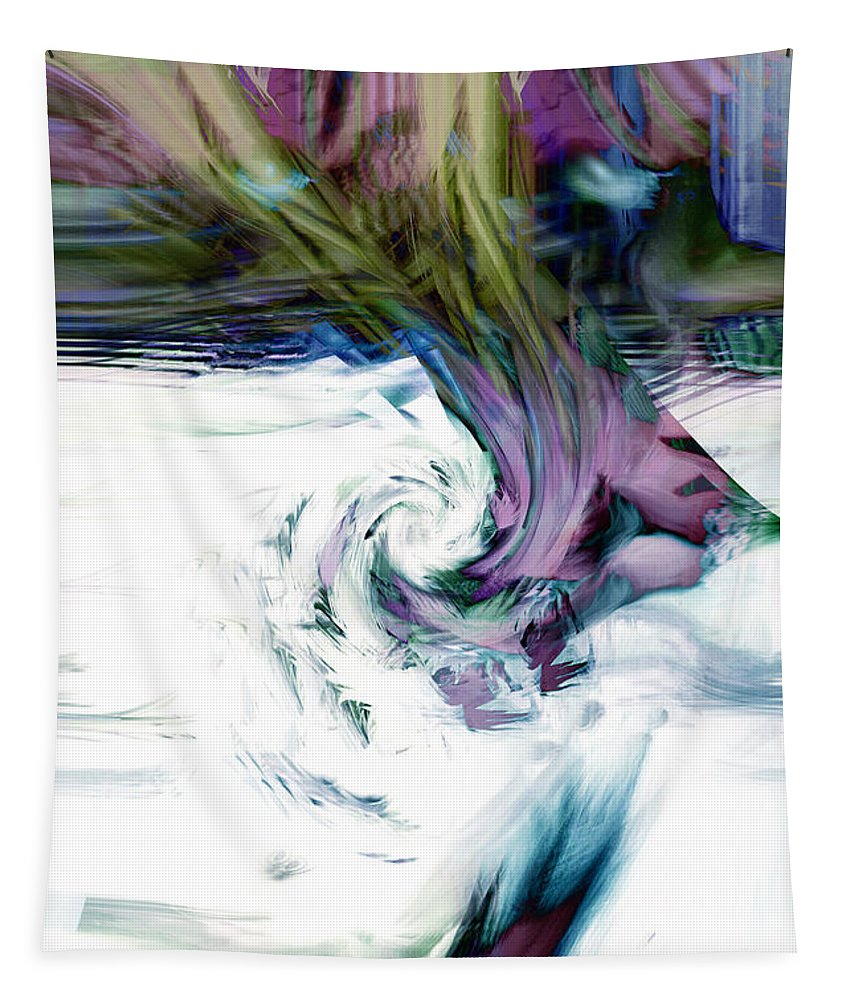 Abstract Tapestry featuring the digital art Why by Linda Sannuti