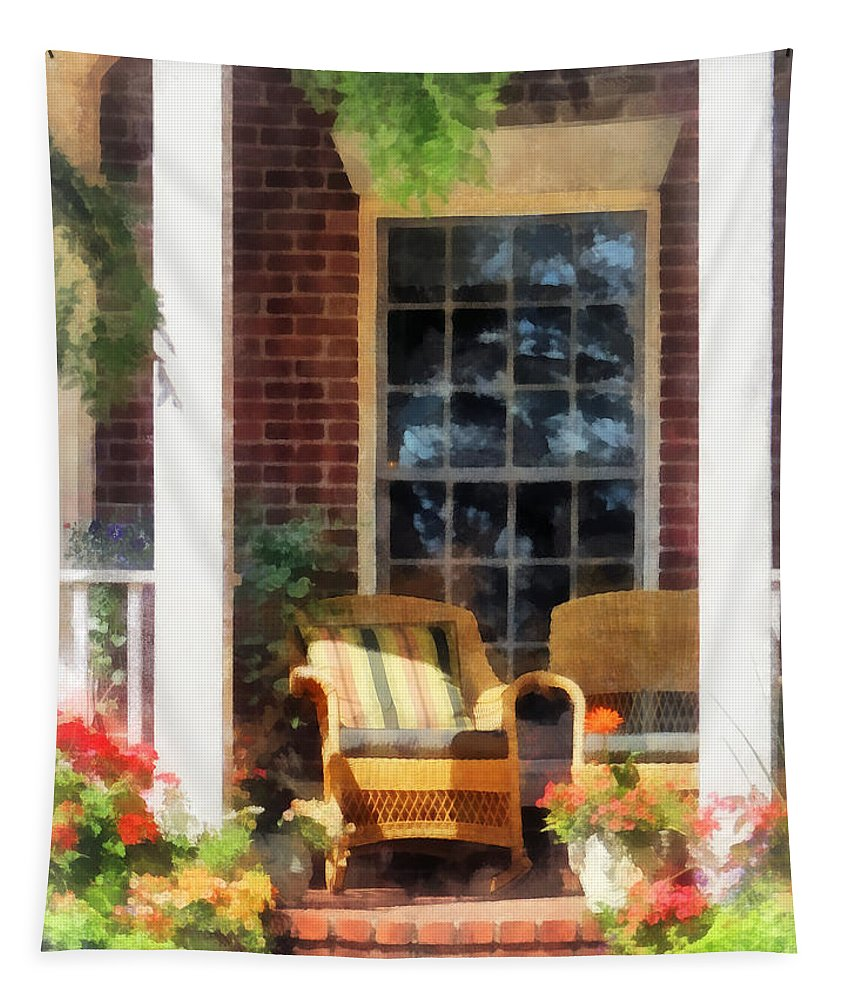 Chair Tapestry featuring the photograph Wicker Chair With Striped Pillow by Susan Savad