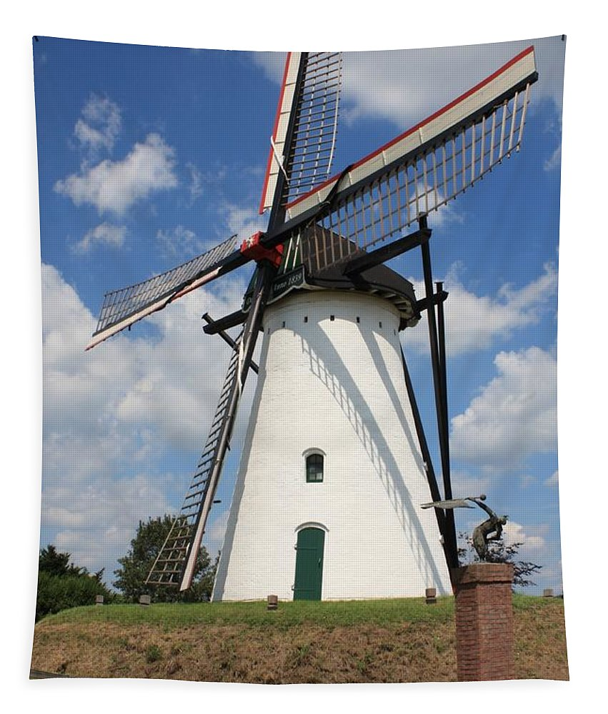 Windmill Tapestry featuring the photograph Windmill And Blue Sky by Carol Groenen