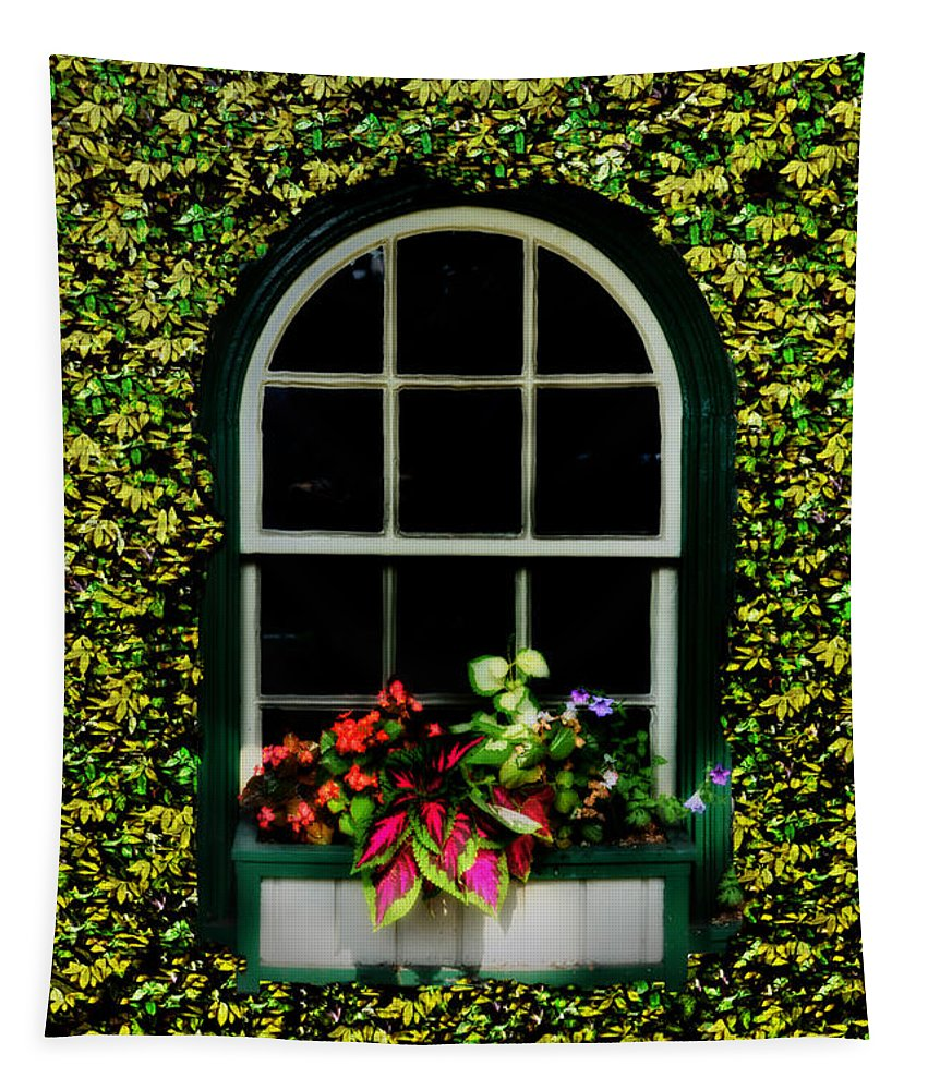 Window Tapestry featuring the photograph Window On An Ivy Covered Wall by Bill Cannon