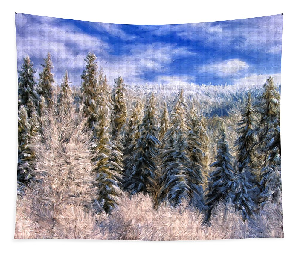 Winter Tapestry featuring the painting Winter In The Rockies by Dominic Piperata