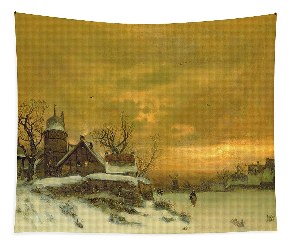 Sun Sunset Tapestry featuring the painting Winter Landscape by Friedrich Nicolai Joseph Heydendahl