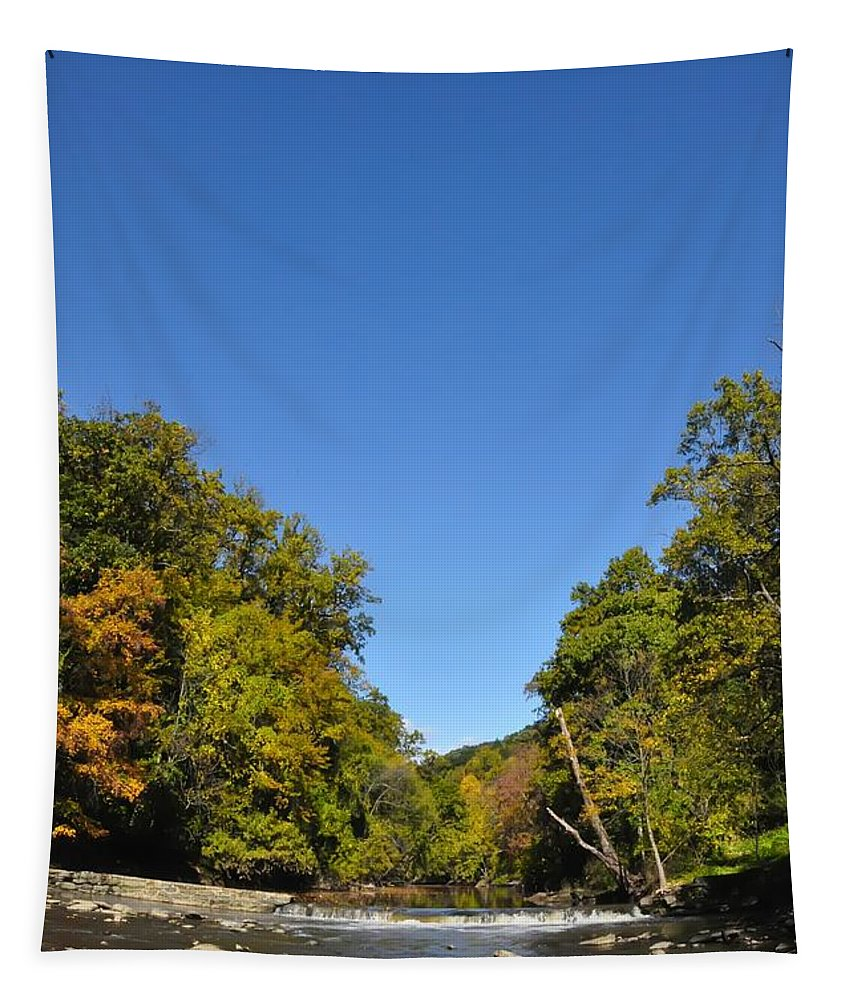 Wissahickon Tapestry featuring the photograph Wissahickon Blue Skies by Bill Cannon