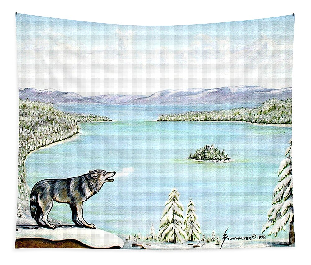 Wolf Tapestry featuring the painting Wolf At Lake Tahoe by Jerome Stumphauzer