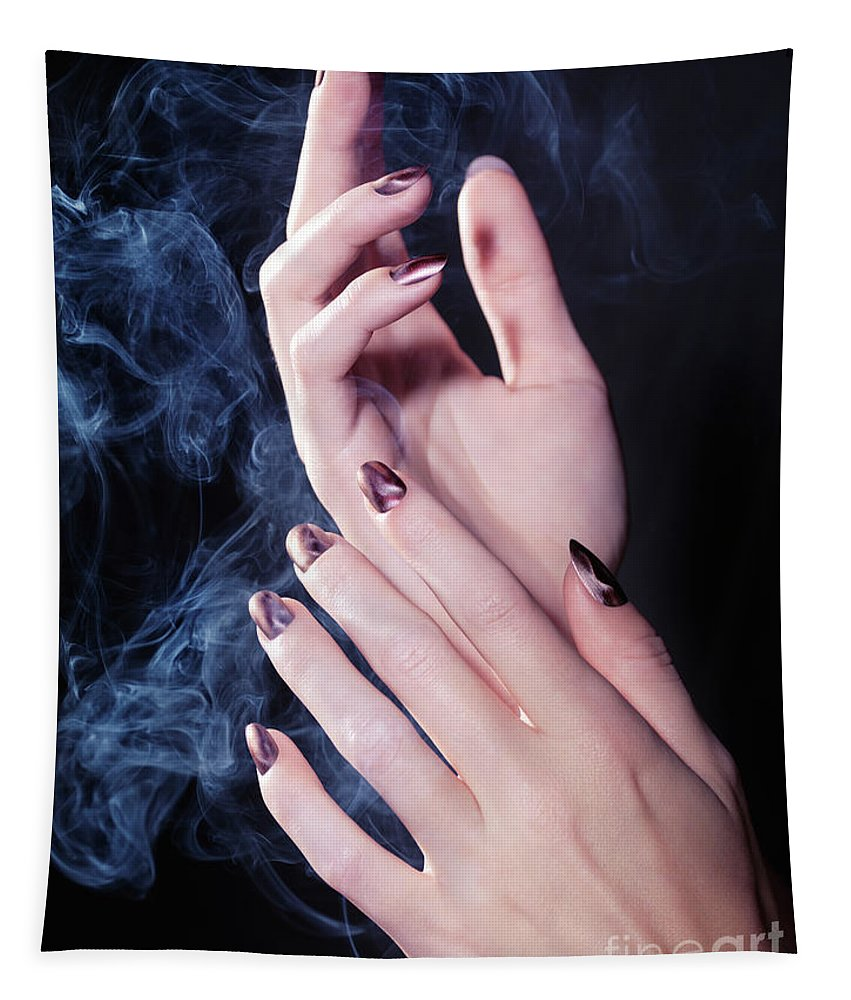 Hands Tapestry featuring the photograph Woman Hands In A Cloud Of Smoke by Maxim Images Prints