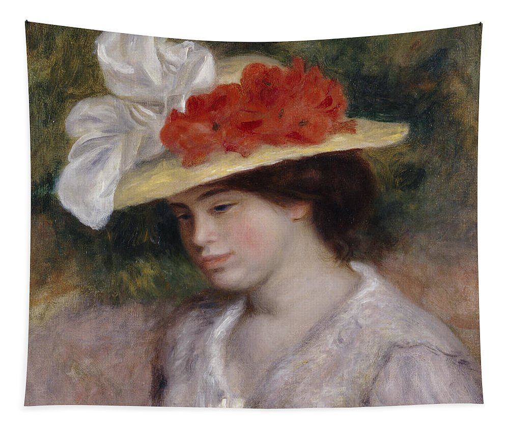Female; Portrait; Flowers; Bonnet; Straw Hat; Pensive; Thoughtful; Impressionist; Chapeau; Fleurs Tapestry featuring the painting Woman In A Flowered Hat by Pierre Auguste Renoir