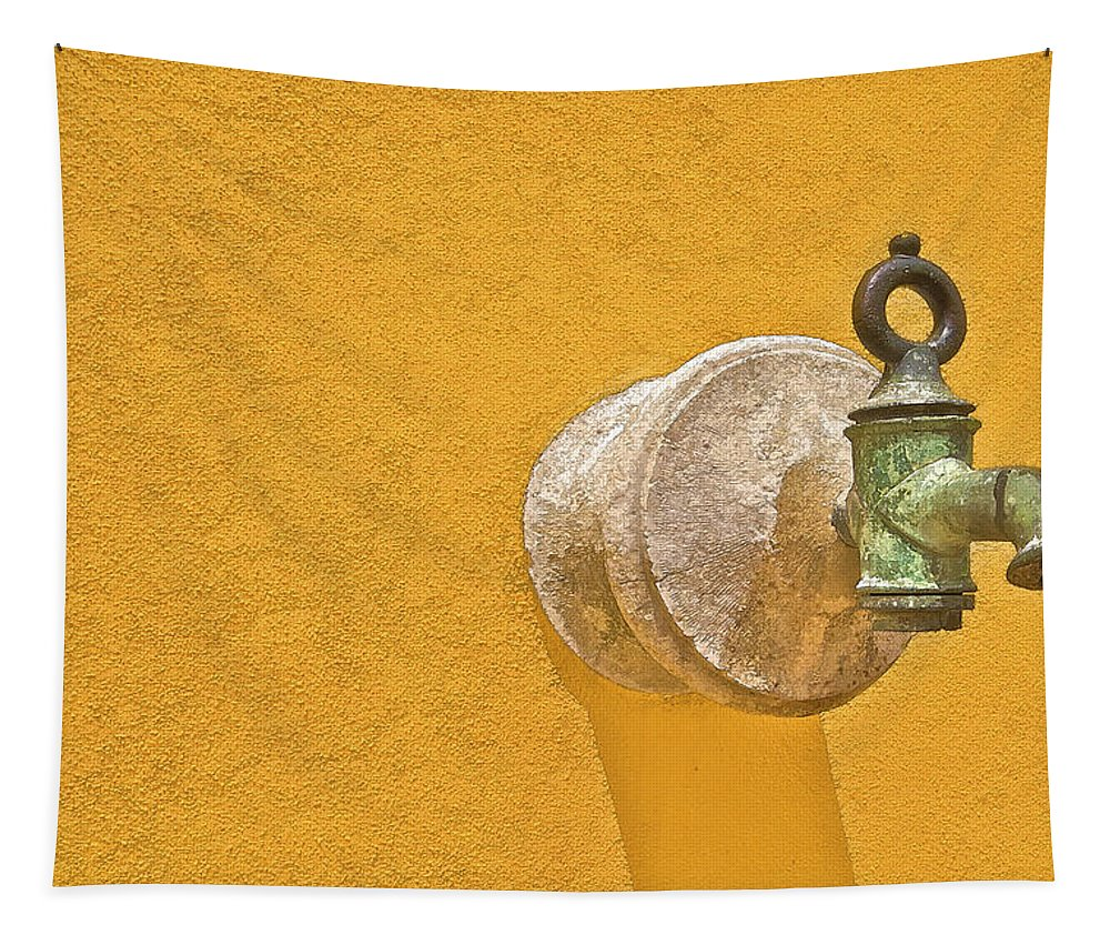 Barcarena Tapestry featuring the photograph Worn Brass Spigot Of Medieval Europe by David Letts