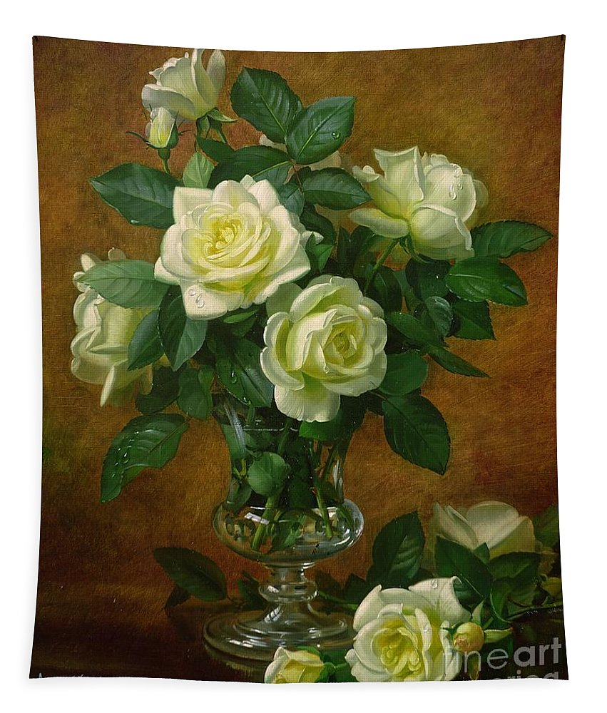 Rose; Still Life; Flower; Arrangement; Glass; Vase; Pale; Floral; Sentimental; Symbolic; Roses; Flowers; Yellow Roses; Leafs; Yellow Roses On Floor Tapestry featuring the painting Yellow Roses by Albert Williams