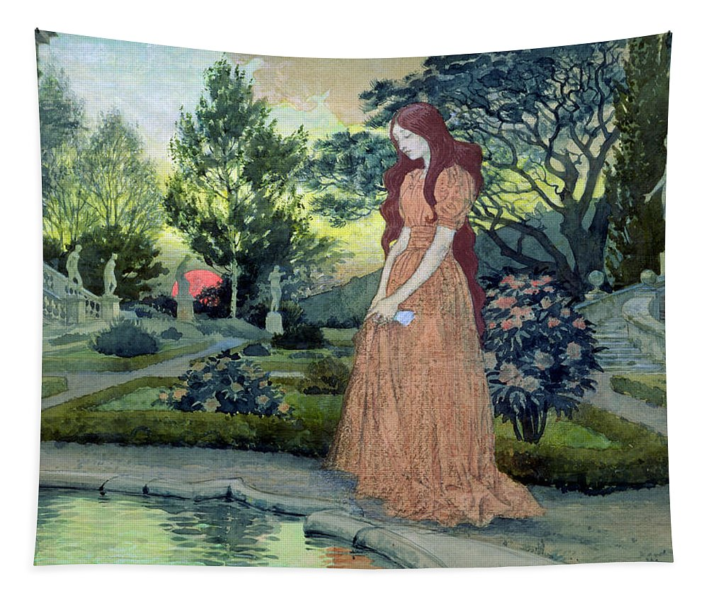 Sunset; Formal; Statues; Pool; Rose Bushes; Sad; Mournful; Paths; Landscape; Forlorn Tapestry featuring the painting Young Girl In A Garden by Eugene Grasset