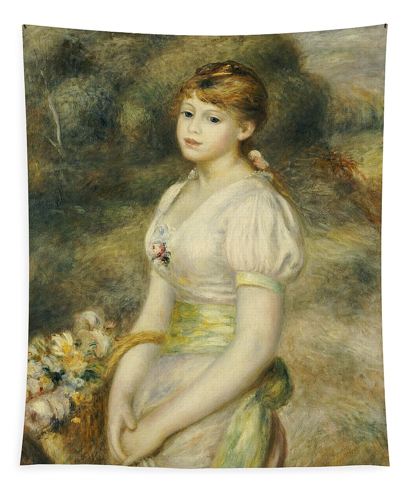 Impressionist; Impressionism; Portrait; Female; Three Quarter Length Tapestry featuring the painting Young Girl With A Basket Of Flowers by Pierre Auguste Renoir