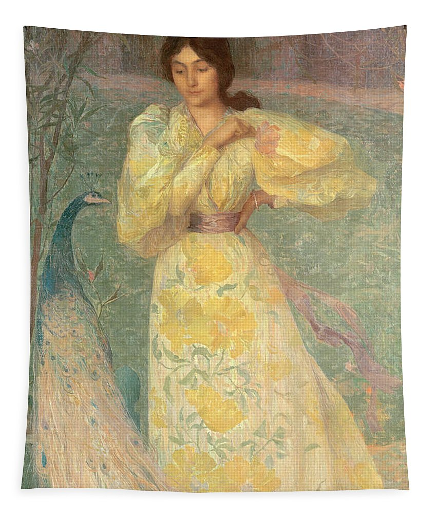 Portrait; Garden; Female; Bird; Tail; Paon Tapestry featuring the painting Young Girl With A Peacock by Edmond-Francois Aman-Jean