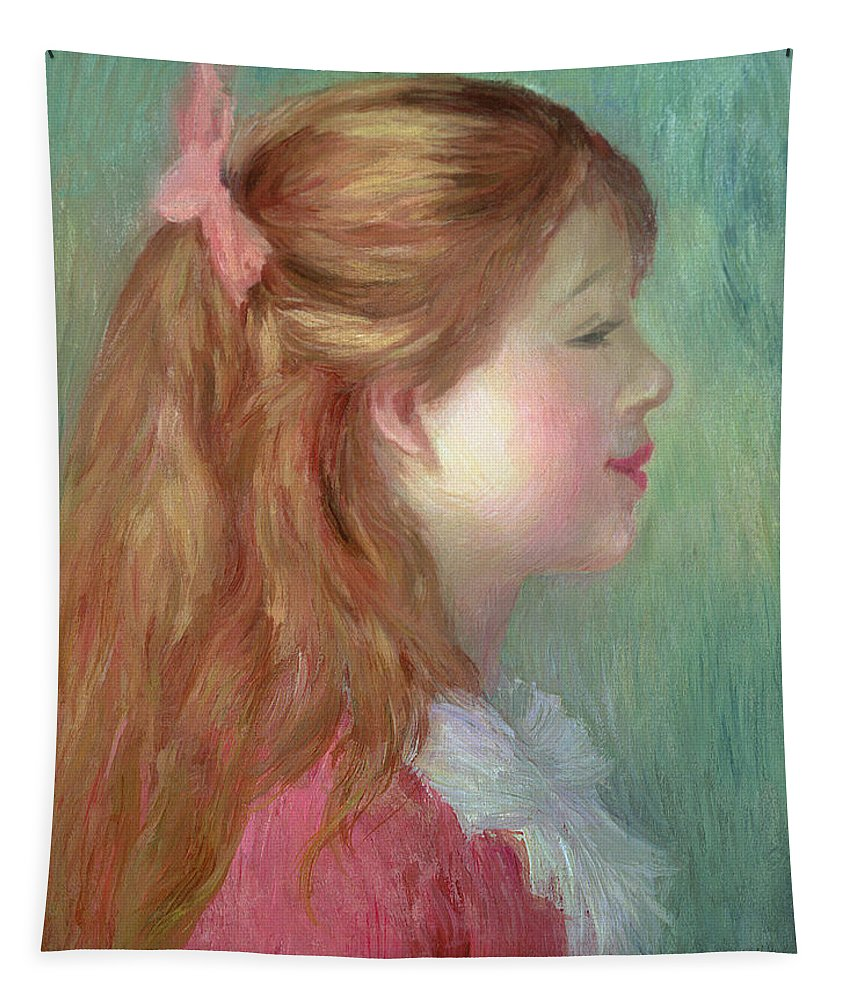 Portrait; Impressionist; Female; Ribbon Tapestry featuring the painting Young Girl With Long Hair In Profile by Pierre Auguste Renoir