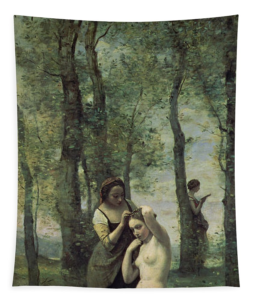 Young Woman At Her Toilet Tapestry featuring the painting Young Woman At Her Toilet by Jean Baptiste Camille Corot
