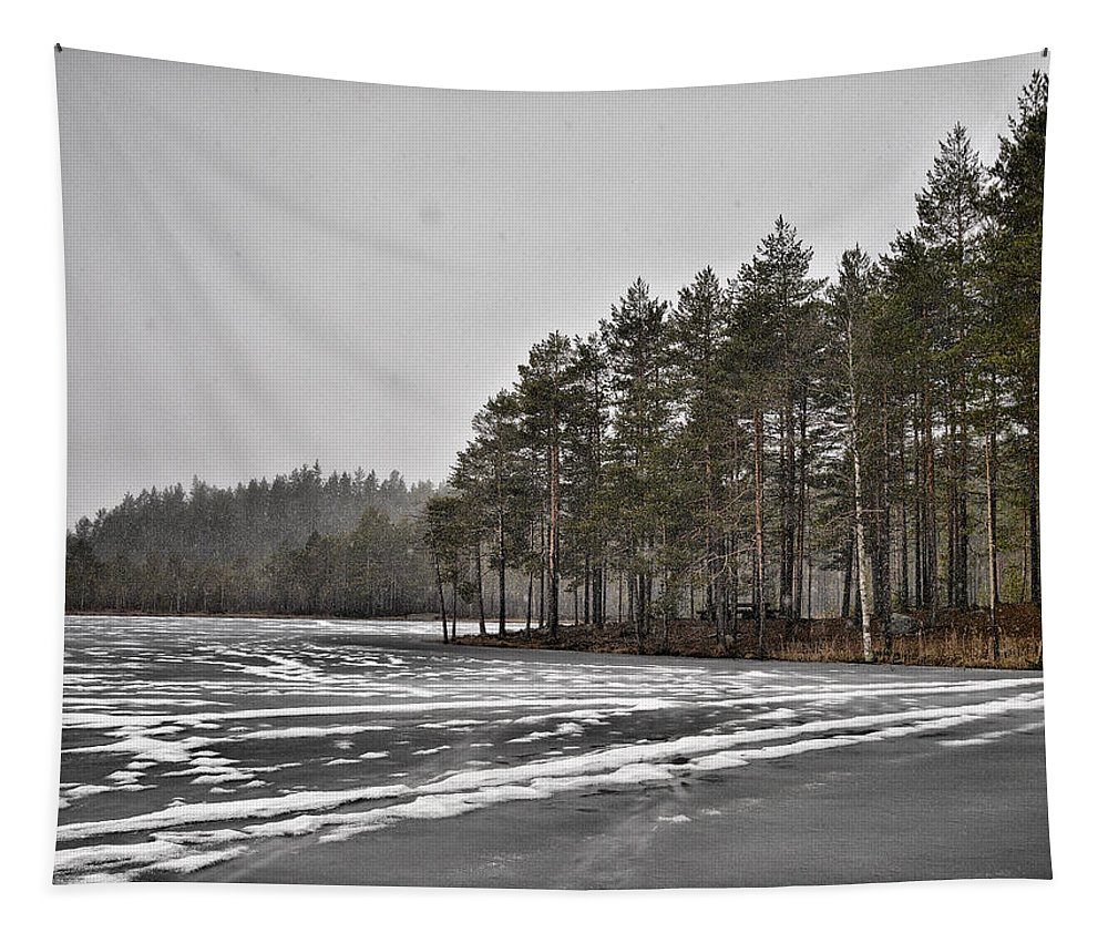 Seitseminen Tapestry featuring the photograph April Snow 3 by Jouko Lehto