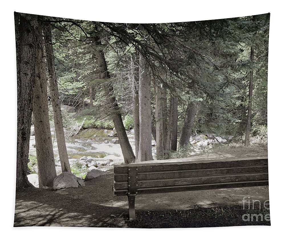Bench Tapestry featuring the photograph Bench By The Stream by Madeline Ellis