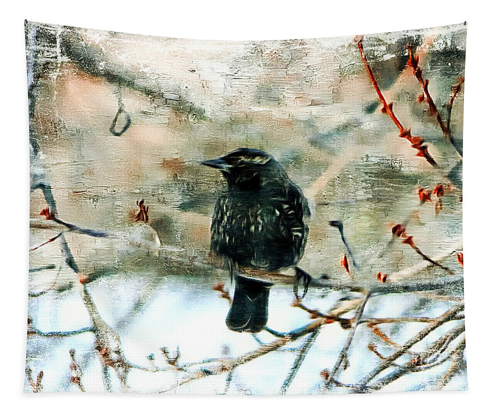 Red Winged Blackbird Tapestry featuring the photograph Blackbird by Tina LeCour