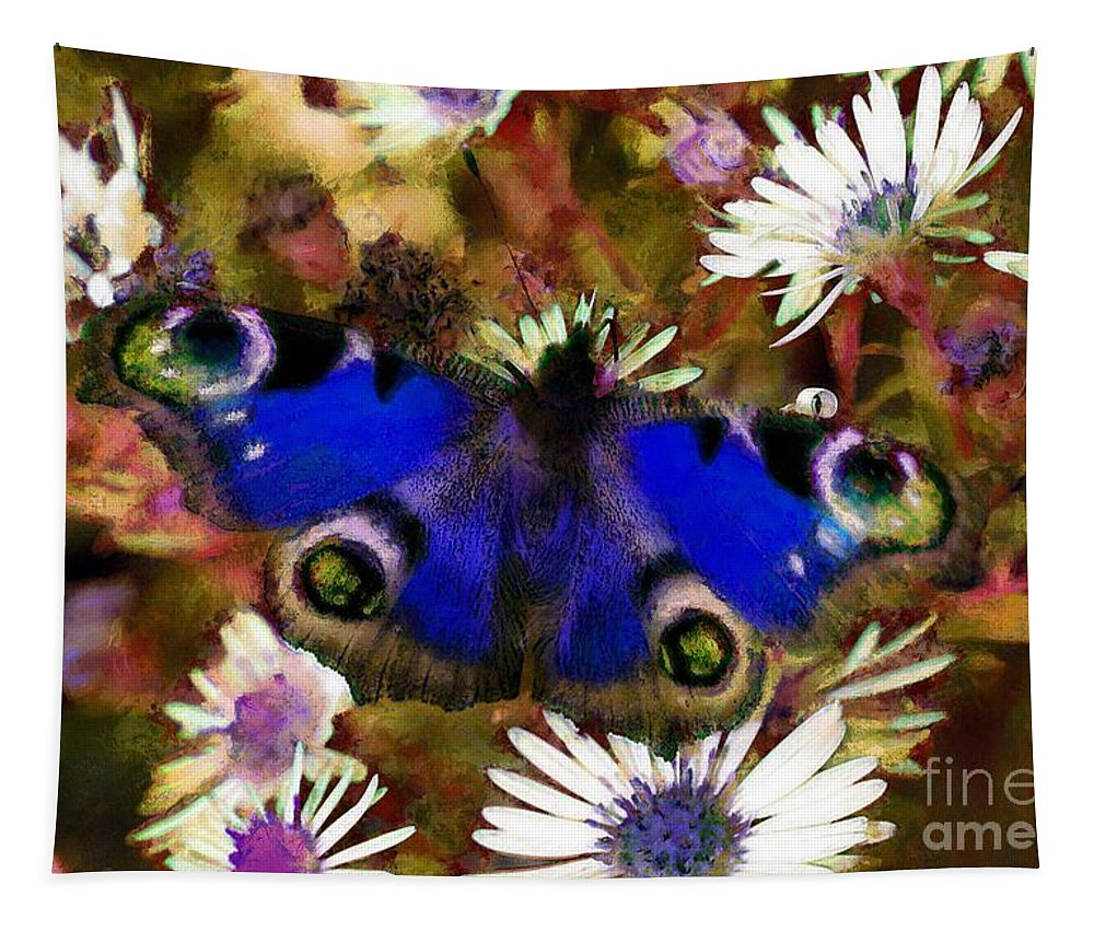 Blue Butterfly Tapestry featuring the drawing Blue Butterfly by Sergey Lukashin