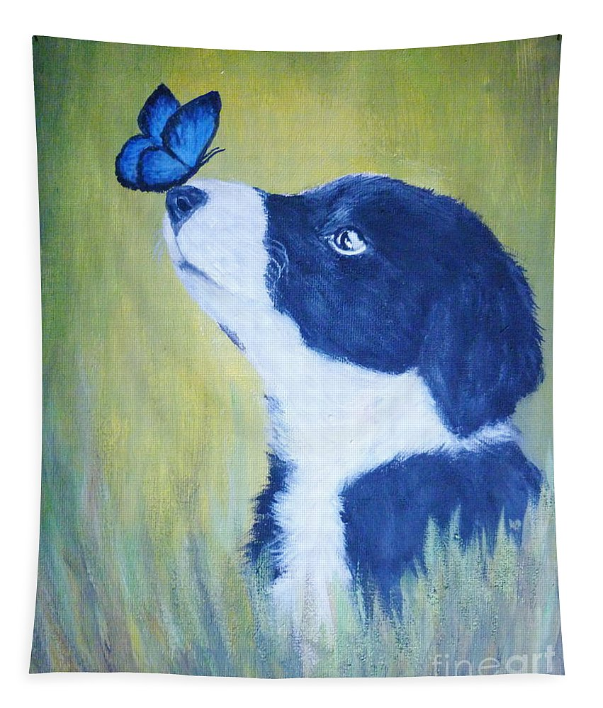 Border Collie Tapestry featuring the painting Border Collie by Andreea Moldovan