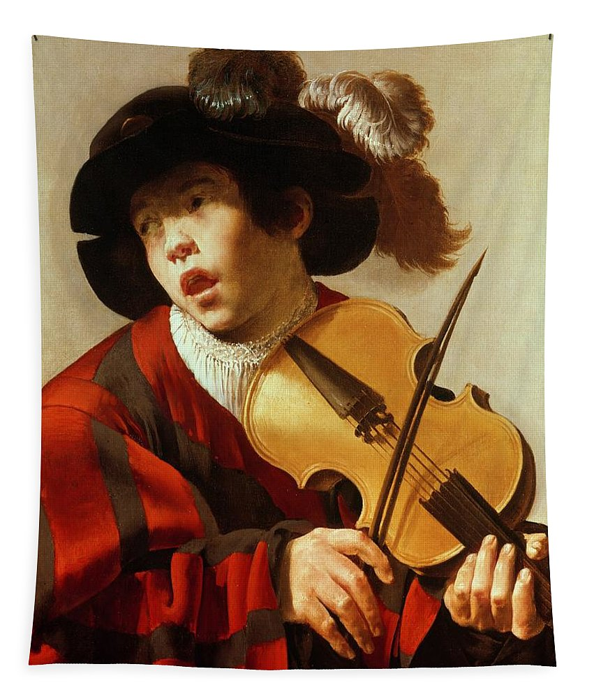 Boy Tapestry featuring the painting Boy Playing Stringed Instrument And Singing by Hendrick Ter Brugghen
