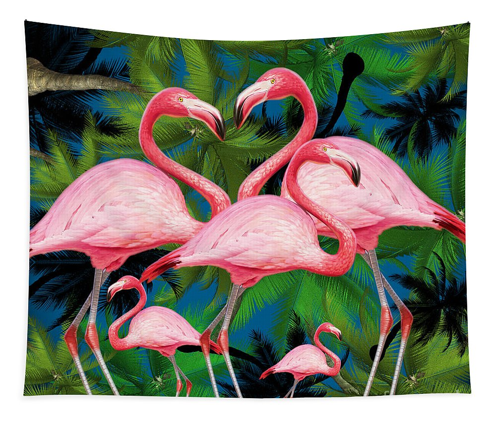 Summer Tapestry featuring the photograph Flamingo by Mark Ashkenazi