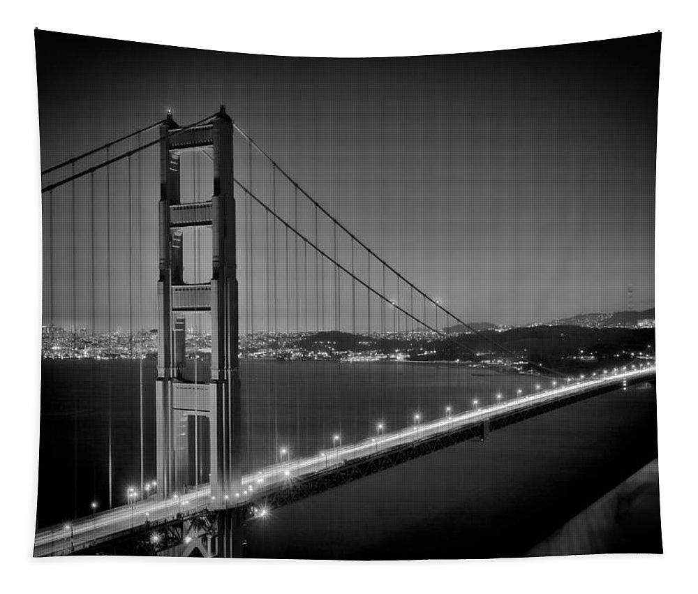 America Tapestry featuring the photograph GOLDEN GATE BRIDGE at Night Monochrome by Melanie Viola