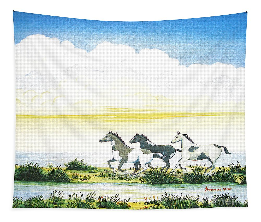 Chincoteague Tapestry featuring the painting Indian Ponies by Jerome Stumphauzer