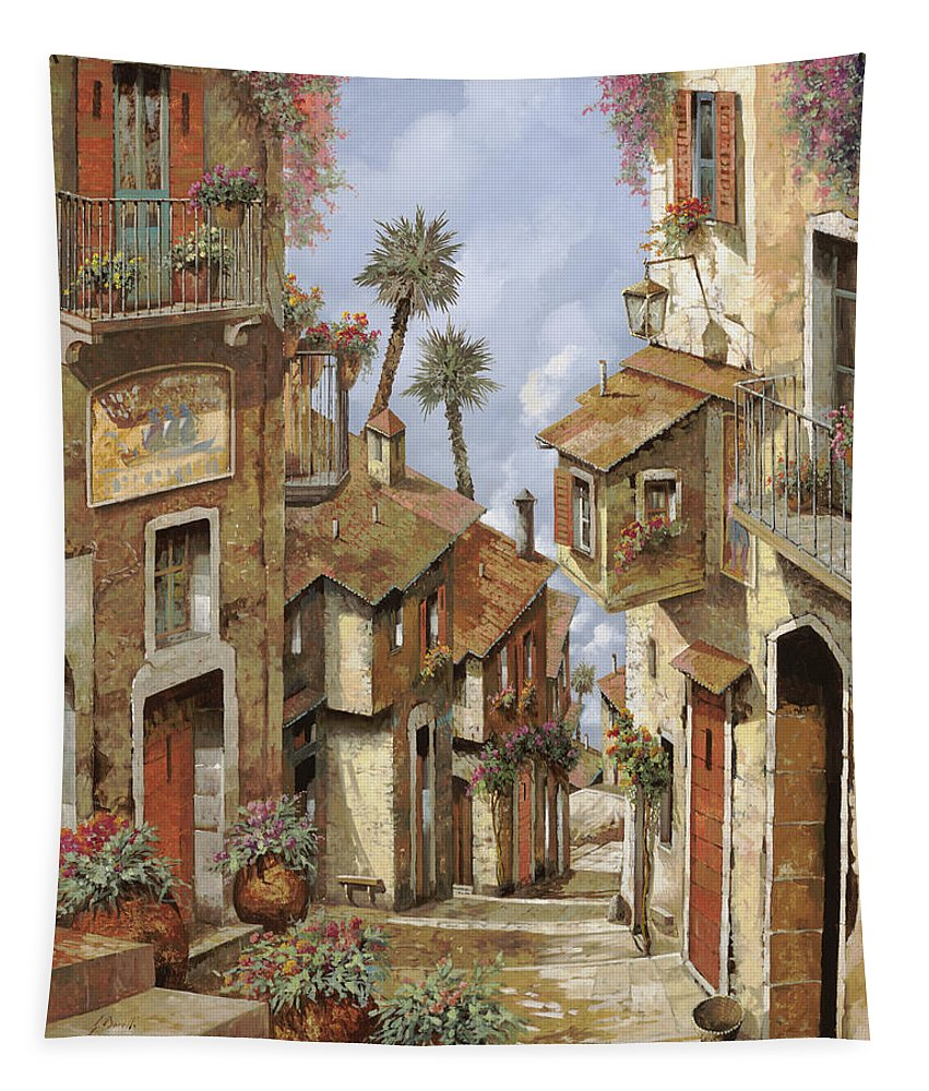 Landscape Tapestry featuring the painting Le Palme Sul Tetto by Guido Borelli