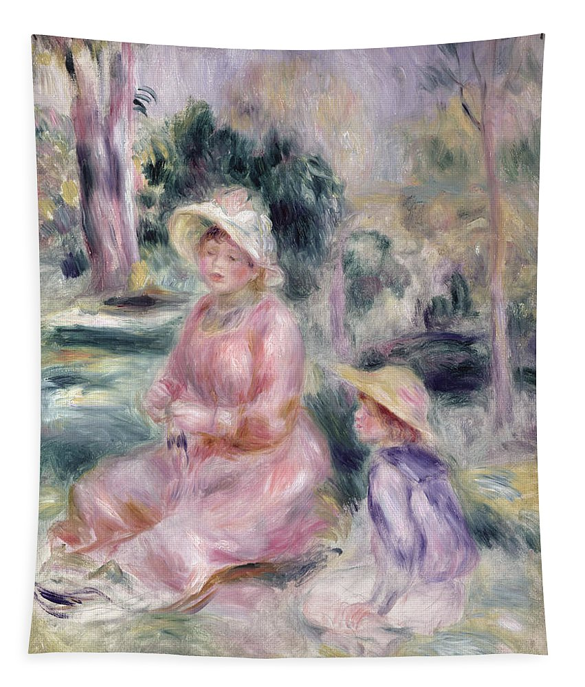 Impressionist; Portrait; Mother And Child; Boy; Sun Hat; Garden; Fils Tapestry featuring the painting Madame Renoir And Her Son Pierre by Pierre Auguste Renoir