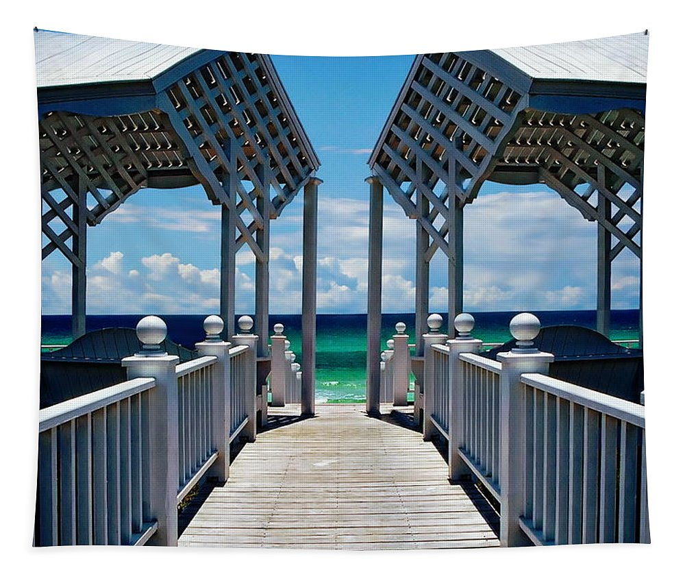 Architecture Tapestry featuring the photograph Oceanfront Pavilion by Anthony Dezenzio
