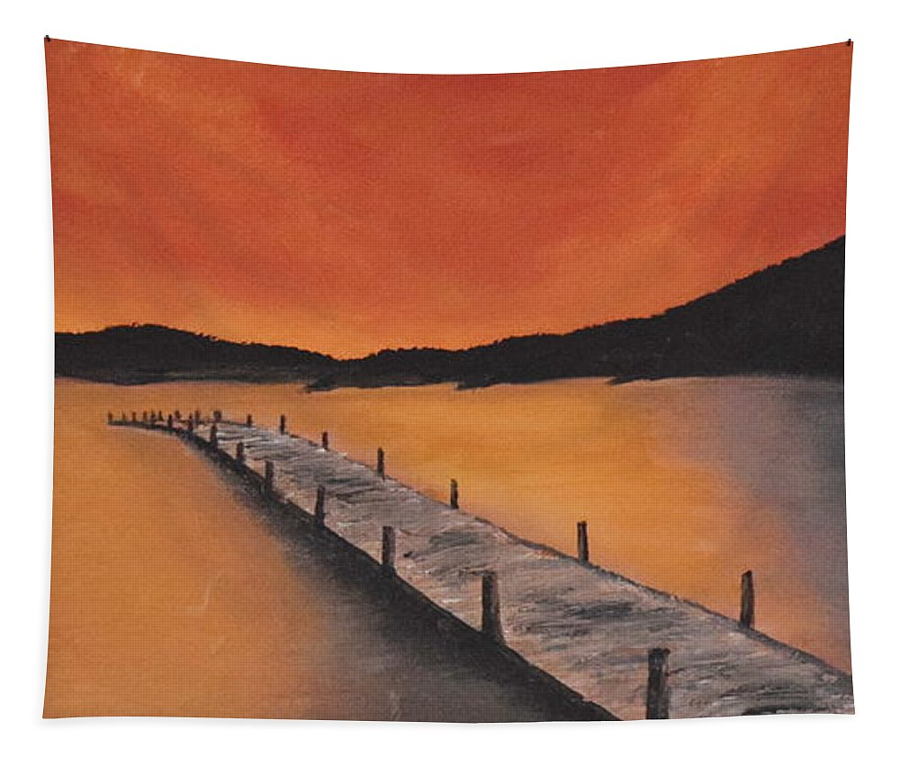 Sunset Tapestry featuring the painting Sky On Fire by Andreea Moldovan