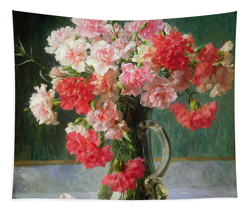 Still Tapestry featuring the painting Still Life Of Carnations  by Emile Vernon