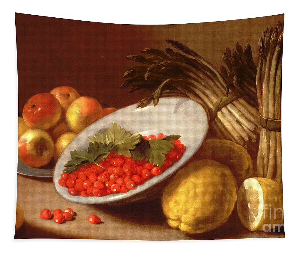 Still Tapestry featuring the painting Still Life Of Raspberries Lemons And Asparagus by Italian School