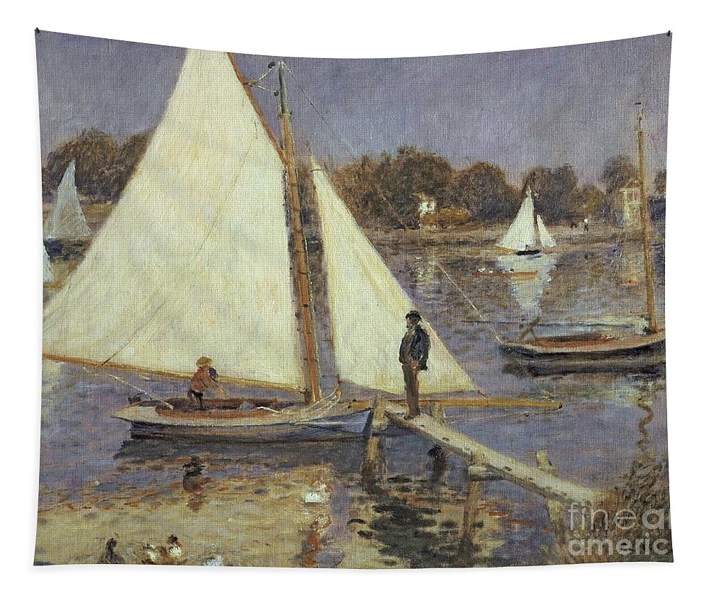 River; Boat; Pontoon; Jetty; Bridge; Sails; Ducks; Impressionist Tapestry featuring the painting The Seine At Argenteuil by Pierre Auguste Renoir
