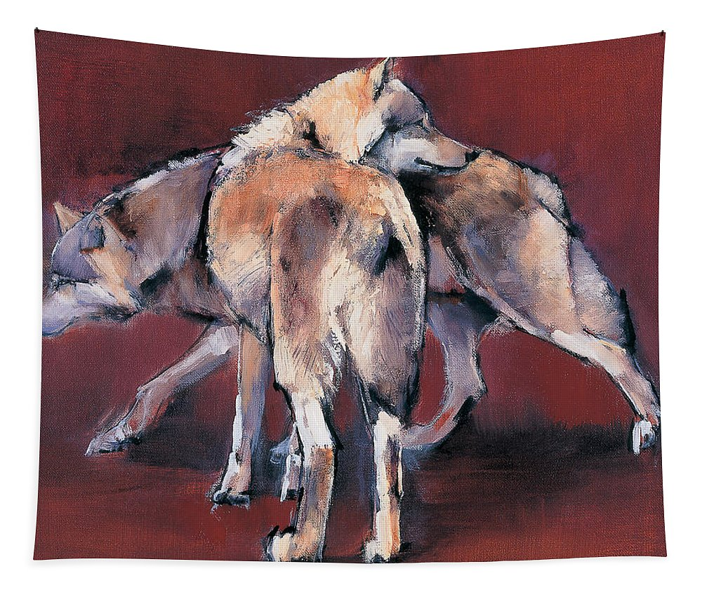 Wolf Tapestry featuring the painting Wolf Composition by Mark Adlington