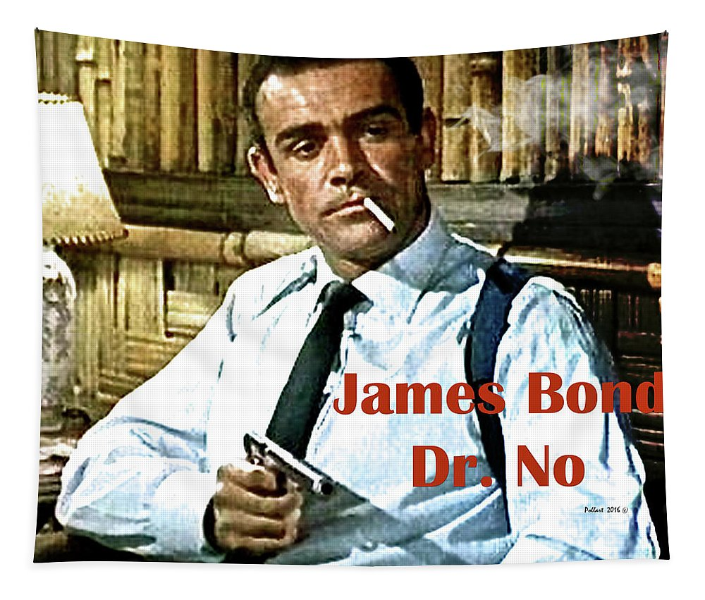 James Bond Tapestry featuring the mixed media 007, James Bond, Sean Connery, Dr No by Thomas Pollart