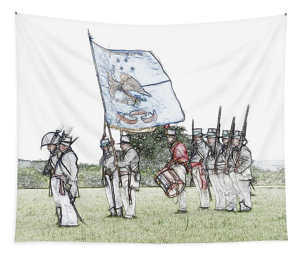1812 Tapestry featuring the digital art 1812 Soldiers by Robert Nelson