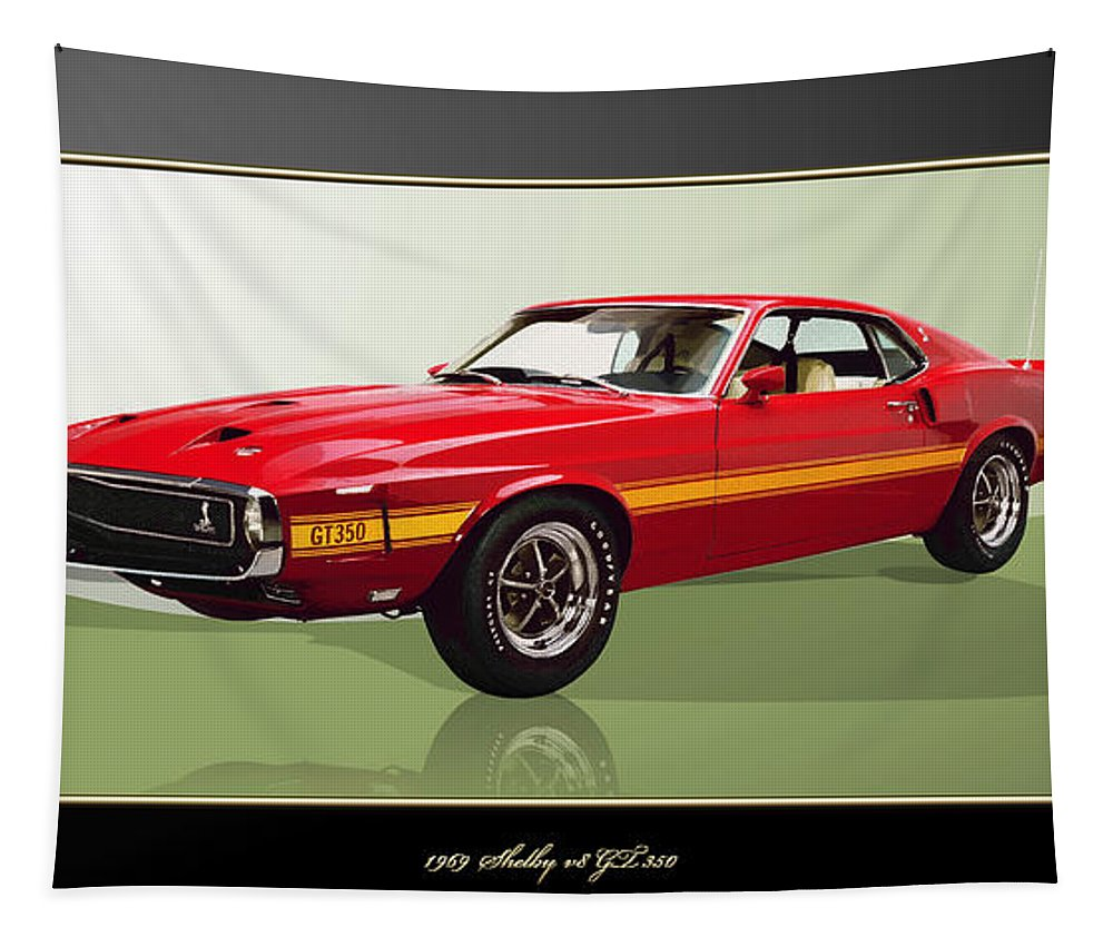Wheels Of Fortune By Serge Averbukh Tapestry featuring the photograph 1969 Shelby V8 Gt350 by Serge Averbukh