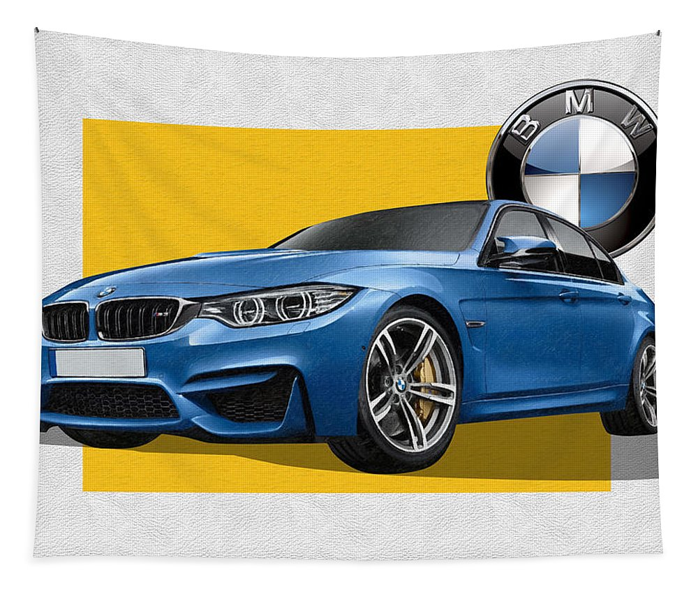 �bmw� Collection By Serge Averbukh Tapestry featuring the photograph 2016 B M W M 3 Sedan with 3 D Badge by Serge Averbukh