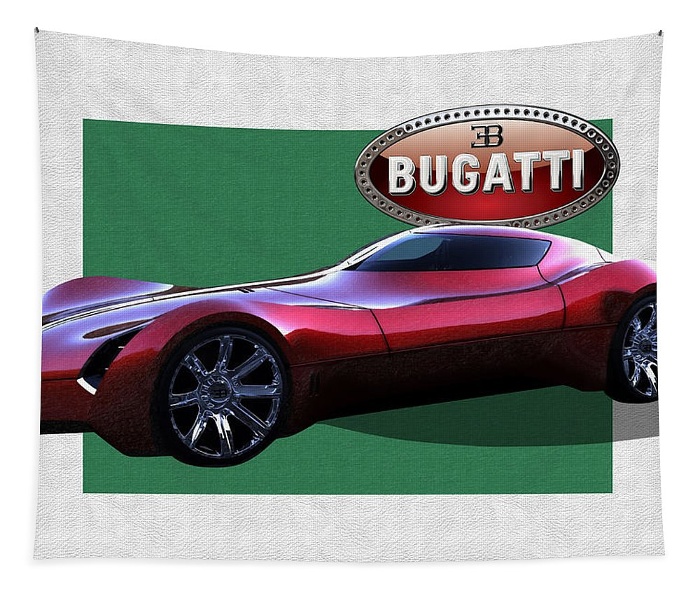 �bugatti� By Serge Averbukh Tapestry featuring the photograph 2025 Bugatti Aerolithe Concept with 3 D Badge by Serge Averbukh