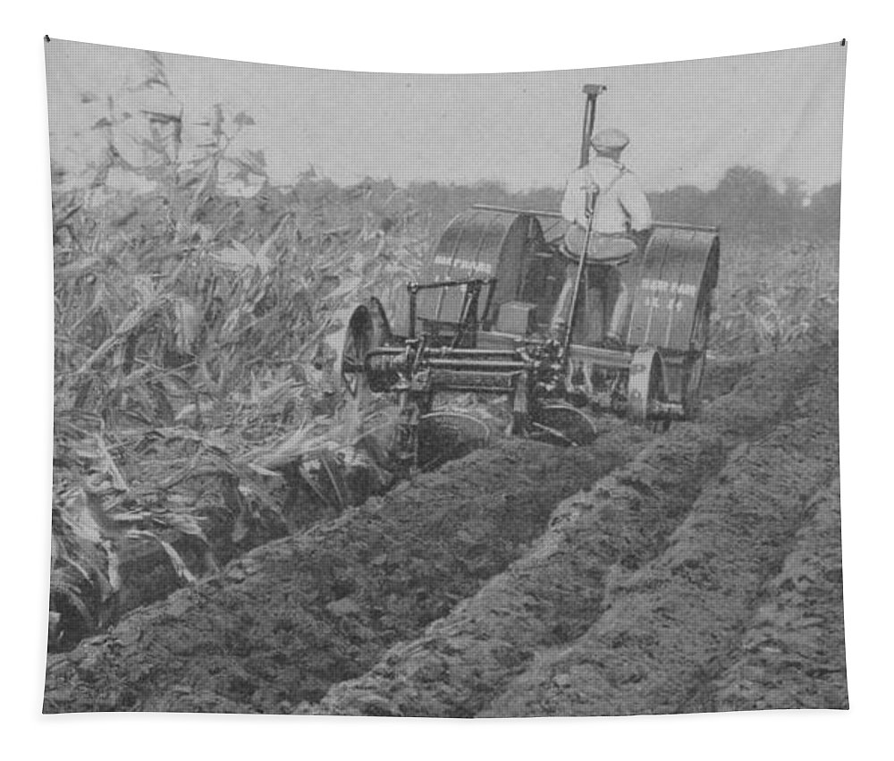 Farm Tapestry featuring the photograph A Farmer Driving A Tractor by American School