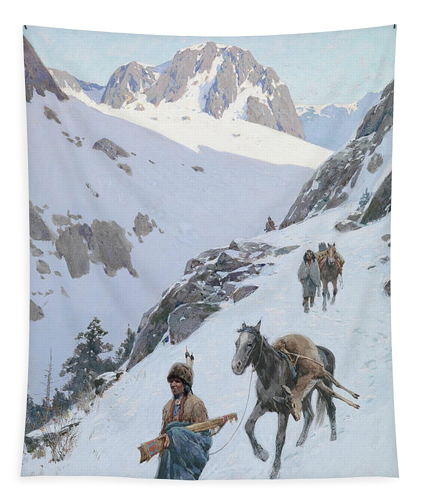 A Successful Hunt Tapestry featuring the drawing A Successful Hunt by Henry Francois Farny