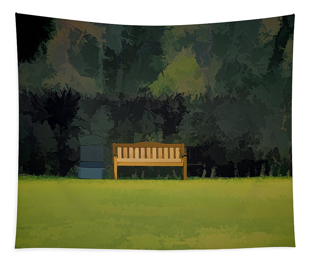 Bench Tapestry featuring the photograph A Trash Can And Wooden Benches In A Small Grassy Area by Ashish Agarwal