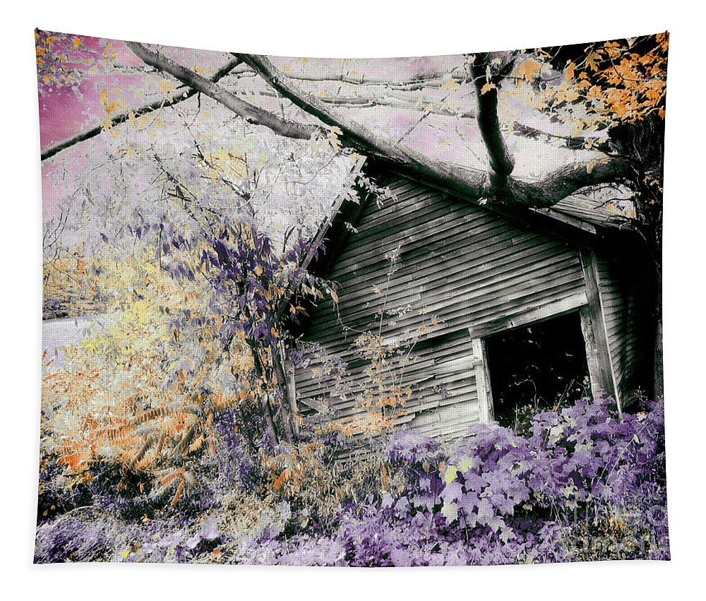 Barn Tapestry featuring the painting Abandoned by Mindy Sommers