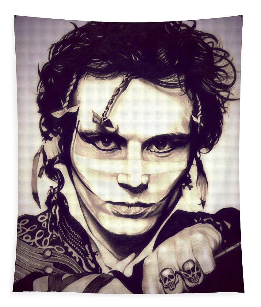 Adam Ant Tapestry featuring the drawing Adam Ant by Fred Larucci