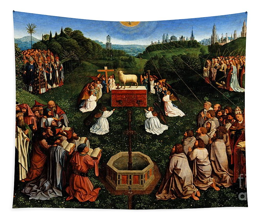 Adoration Of The Mysticlamb Tapestry featuring the painting Adoration Of The Mystic Lamb by Hubert Eyck and Jan van Eyck