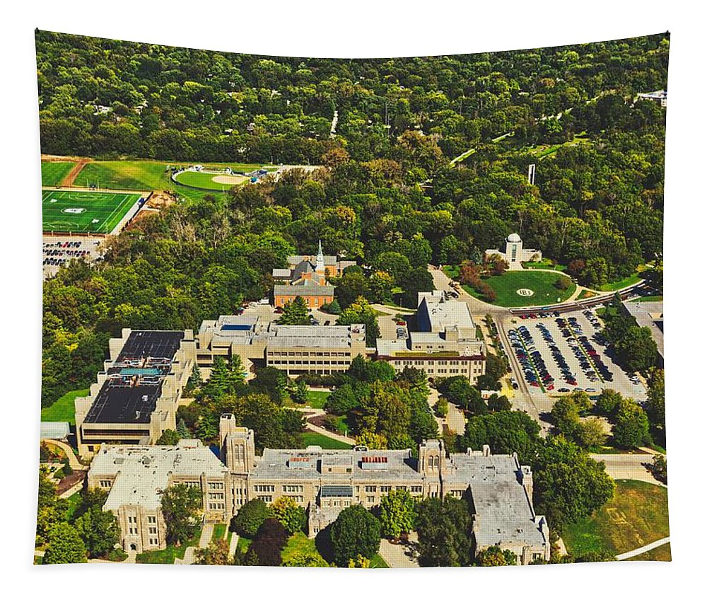 Butler University Tapestry featuring the photograph Aerial View Of Butler University by Mountain Dreams