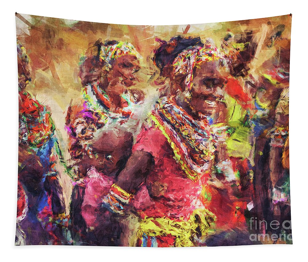 African Tapestry featuring the digital art African Woman by Phil Perkins