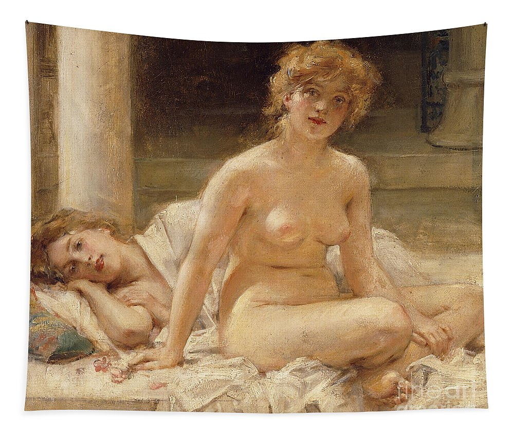 Harem Tapestry featuring the painting After The Bath by Leon Francois Comerre